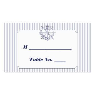 Nautical Anchor Grey Stripe Wedding Place Cards