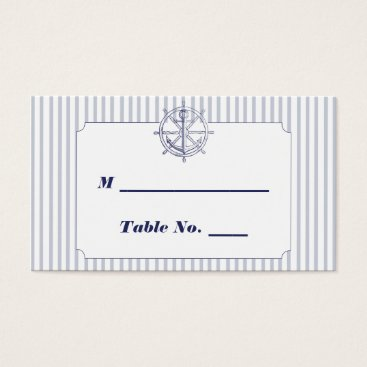 Beach Themed Nautical Anchor Grey Stripe Wedding Place Cards