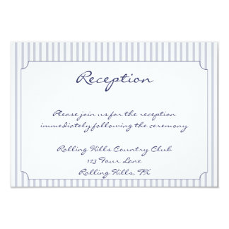Nautical Anchor Grey Stripe Wedding Reception Card