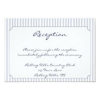 Nautical Anchor Grey Stripe Wedding Reception 3.5x5 Paper Invitation Card