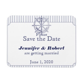 Nautical Anchor Grey Stripe Wedding Save the Date Rectangle Magnets