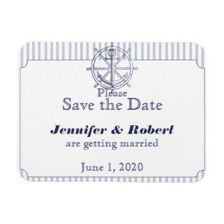 Nautical Anchor Grey Stripe Wedding Save the Date Rectangular Photo Magnet