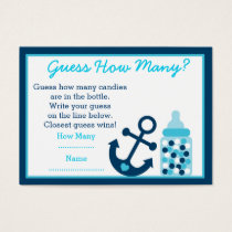 Nautical Anchor Guess How Many Game Cards