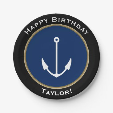 Beach Themed Nautical Anchor Happy Birthday with Name Paper Plate