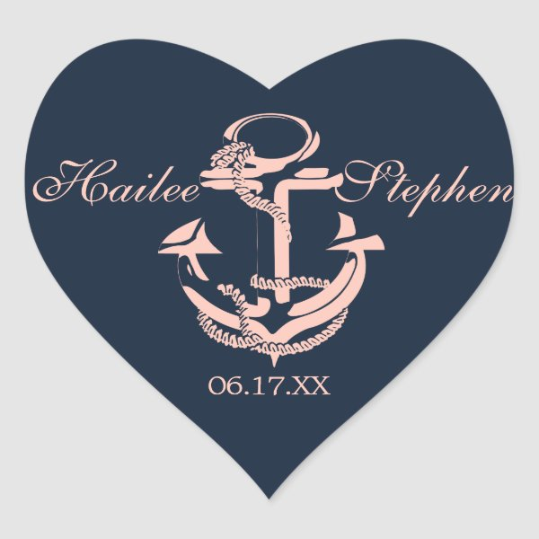 Nautical Anchor Heart Navy Blue and Pink Heart Sticker