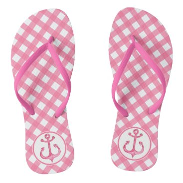 Beach Themed Nautical Anchor | Hot Pink Plaid Flip flops
