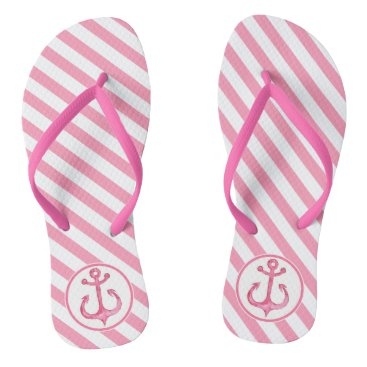 Beach Themed Nautical Anchor | Hot Pink Striped Flip flops