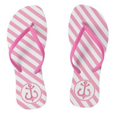 Nautical Anchor | Hot Pink Striped Flip flops