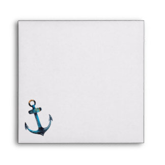 Nautical Anchor in Blue Watercolor Envelope