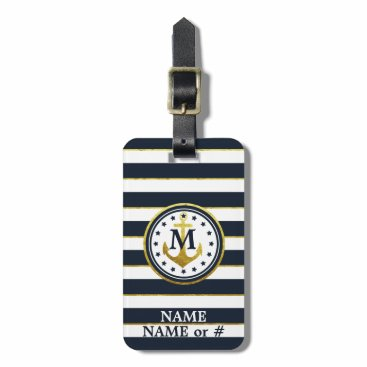 Nautical Anchor in Navy/Gold Bag Tag