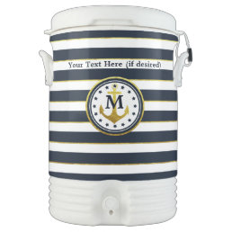 Nautical Anchor in Navy/Gold Beverage Cooler