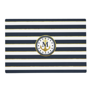 Nautical Anchor in Navy/Gold Placemat