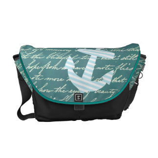 Nautical anchor in turquoise teal bag