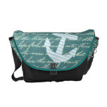 Nautical anchor in turquoise teal bag messenger bags