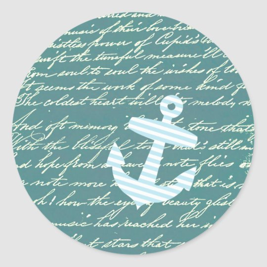 Nautical anchor in turquoise teal classic round sticker