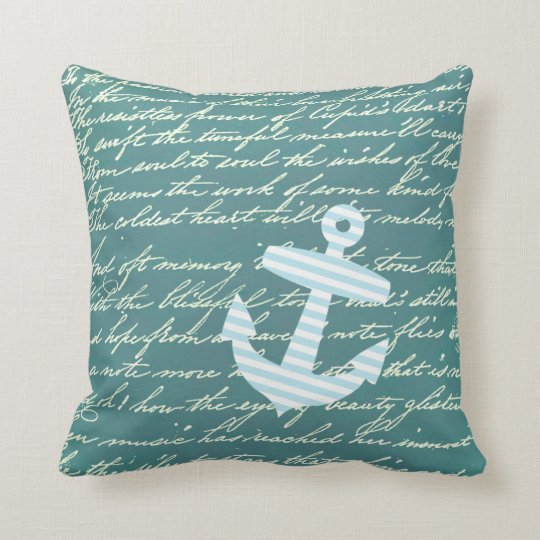 Nautical anchor in turquoise teal cushion / pillow