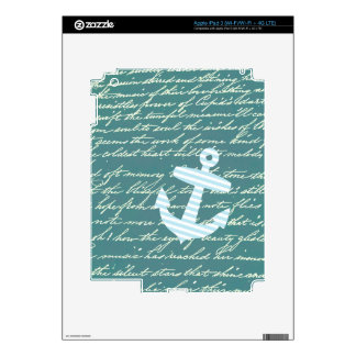 Nautical anchor in turquoise teal decals for iPad 3