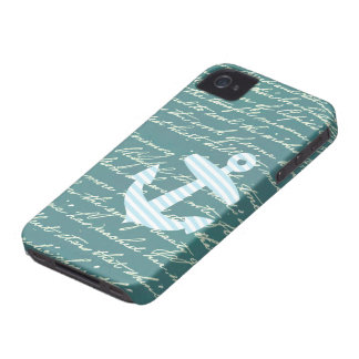 Nautical anchor in turquoise teal iphone 4 case
