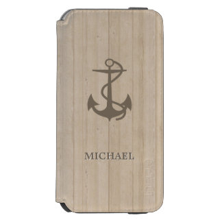 Nautical Anchor in Wood Grain - Personalized Name Incipio Watson™ iPhone 6 Wallet Case