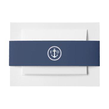 Beach Themed Nautical Anchor Initials Elegant Navy Blue Invitation Belly Band