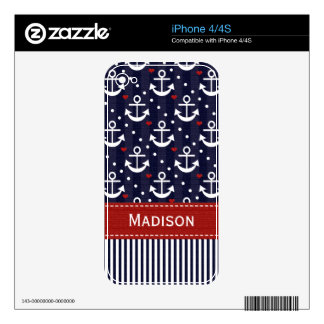 Nautical Anchor iPhone 4 / 4s Skin Decals For iPhone 4S