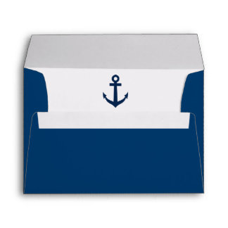 Nautical anchor liner navy blue wedding envelopes