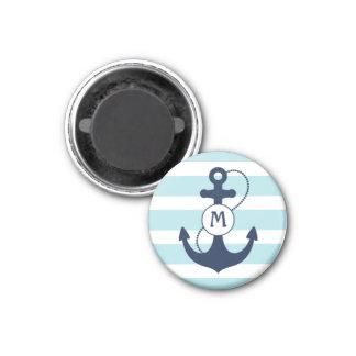 Nautical Anchor Mongram 1 Inch Round Magnet