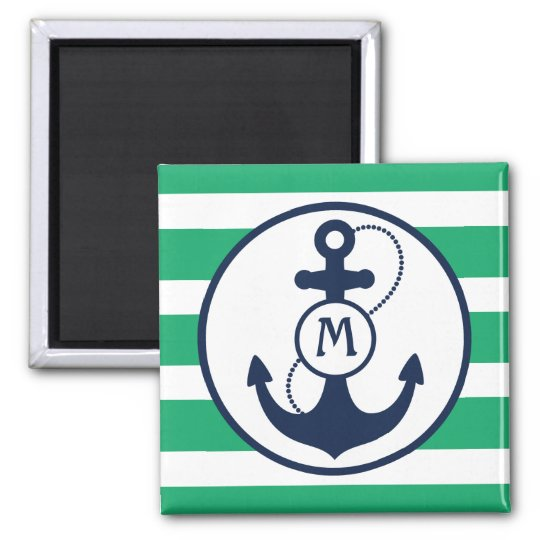 Nautical Anchor Mongram 2 Inch Square Magnet