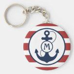Nautical Anchor Monogram Basic Round Button Keychain