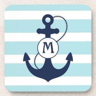 Nautical Anchor Monogram Beverage Coaster