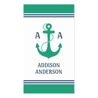 Nautical Anchor Monogram Business Card Template