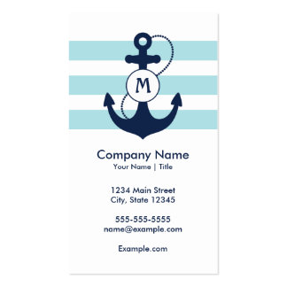 Nautical Anchor Monogram Double-Sided Standard Business Cards (Pack Of 100)