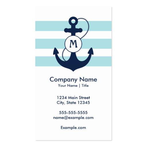 Nautical Anchor Monogram Business Cards