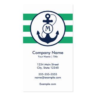 Nautical Anchor Monogram Business Card Templates