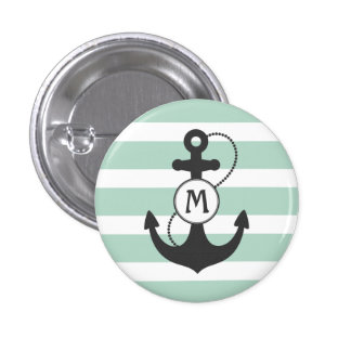 Nautical Anchor Monogram Button