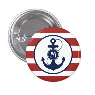 Nautical Anchor Monogram Pinback Buttons