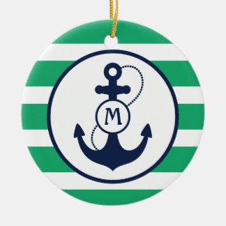 Nautical Anchor Monogram Ceramic Ornament