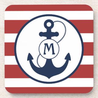 Nautical Anchor Monogram Drink Coaster
