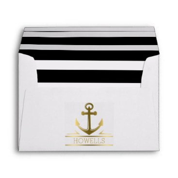 Beach Themed Nautical Anchor Monogram Gold 5x7 Wedding Envelope
