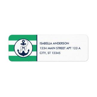 Nautical Anchor Monogram Return Address Label