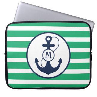 Nautical Anchor Monogram Laptop Computer Sleeve