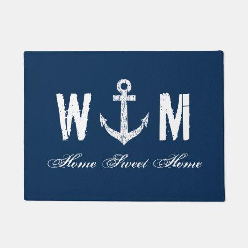 Nautical anchor monogram letter navy blue door mat Doormat