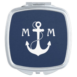 Nautical Anchor Monogram Makeup Mirror
