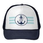 Nautical Anchor Monogram Mesh Hats
