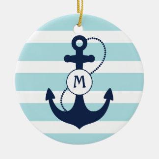 Nautical Anchor Monogram Christmas Ornaments