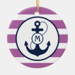 Nautical Anchor Monogram Double-Sided Ceramic Round Christmas Ornament