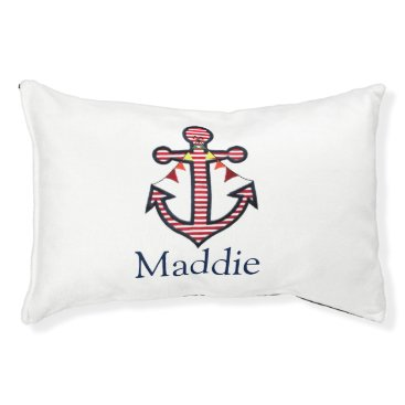 Beach Themed Nautical Anchor Monogram Pet Cat or Dog Pet Bed