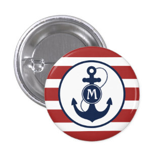 Nautical Anchor Monogram Pinback Button