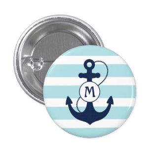 Nautical Anchor Monogram Pinback Button