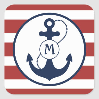 Nautical Anchor Monogram Square Sticker